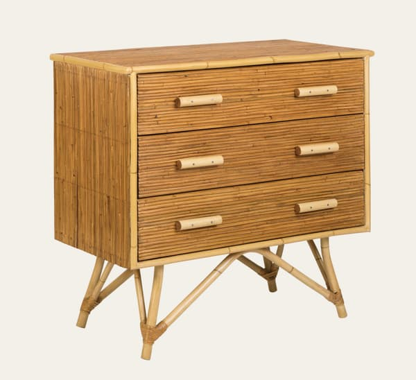 Tro041 A – Split cane bamboo chest of drawers