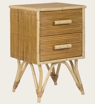 Split cane bamboo small bedside table