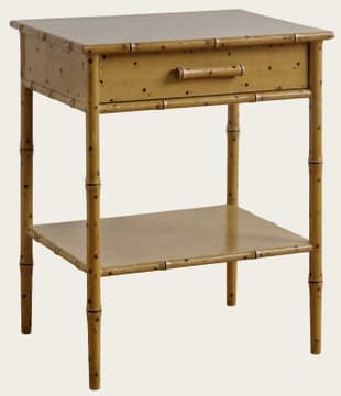 Faux bamboo side table with drawer