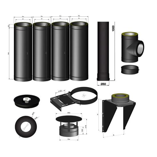 Termatech 80mm stålskorsten pakke 2