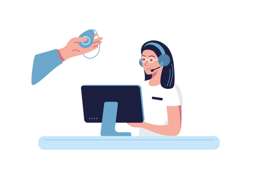 SureSafe Customer Service with Computer and SureSafeGO in Hand Illustration