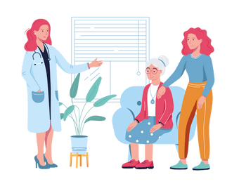 SureSafe Doctor with Senior Woman with SureSafeGO and Daughter Illustration