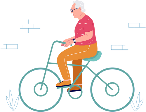 Sure Safe Man on Bicycle Illustration Footer Right