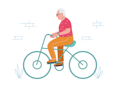 SureSafe Man on Bicycle Illustration