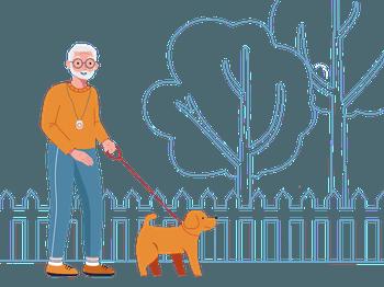 SureSafe Man with SureSafeGO Walking Dog Illustration