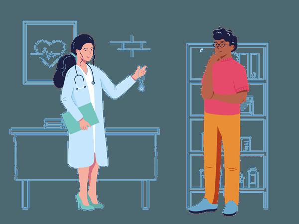 SureSafe Medic Handing SureSafeGO to Man Thinking Illustration