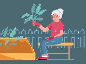 SureSafe Woman Gardening Illustration