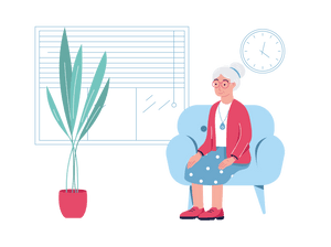 SureSafe Woman on Chair with Plant Illustration
