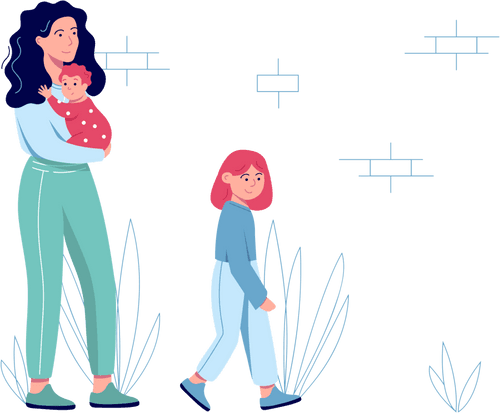 Sure Safe Woman with Baby and Daughter Illustration Footer Left