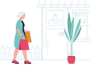 SureSafe Woman with Shopping and Pot Plant Illustration