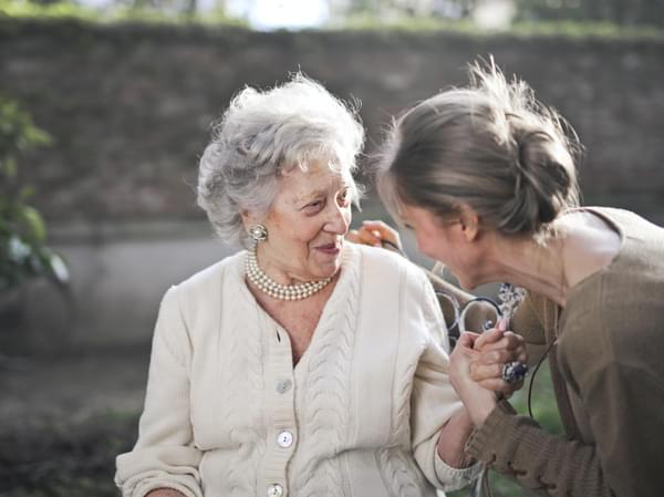 Lady with elderly mother