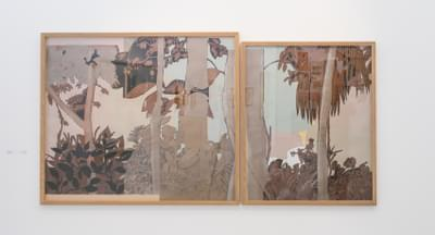 Elizabeth Dorazio  Untitled Diptych 2019  From The Series ' On Nature'  Drawing And Collage On Paper 123 X 242 Cm