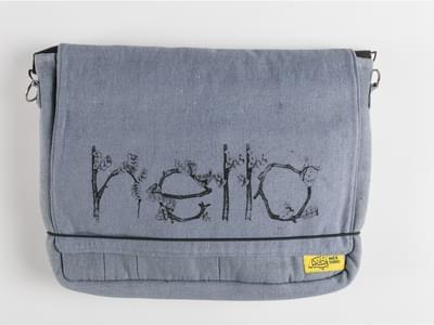 Mobius Grey Screenprinted Bag