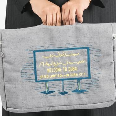 Grey Welcome To Dubai Pouch