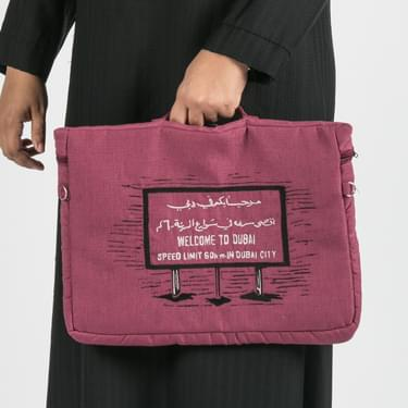 Maroon Welcome To Dubai Pouch