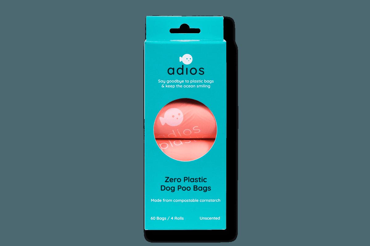 Adios Poo Bags x 4 rolls in Pink