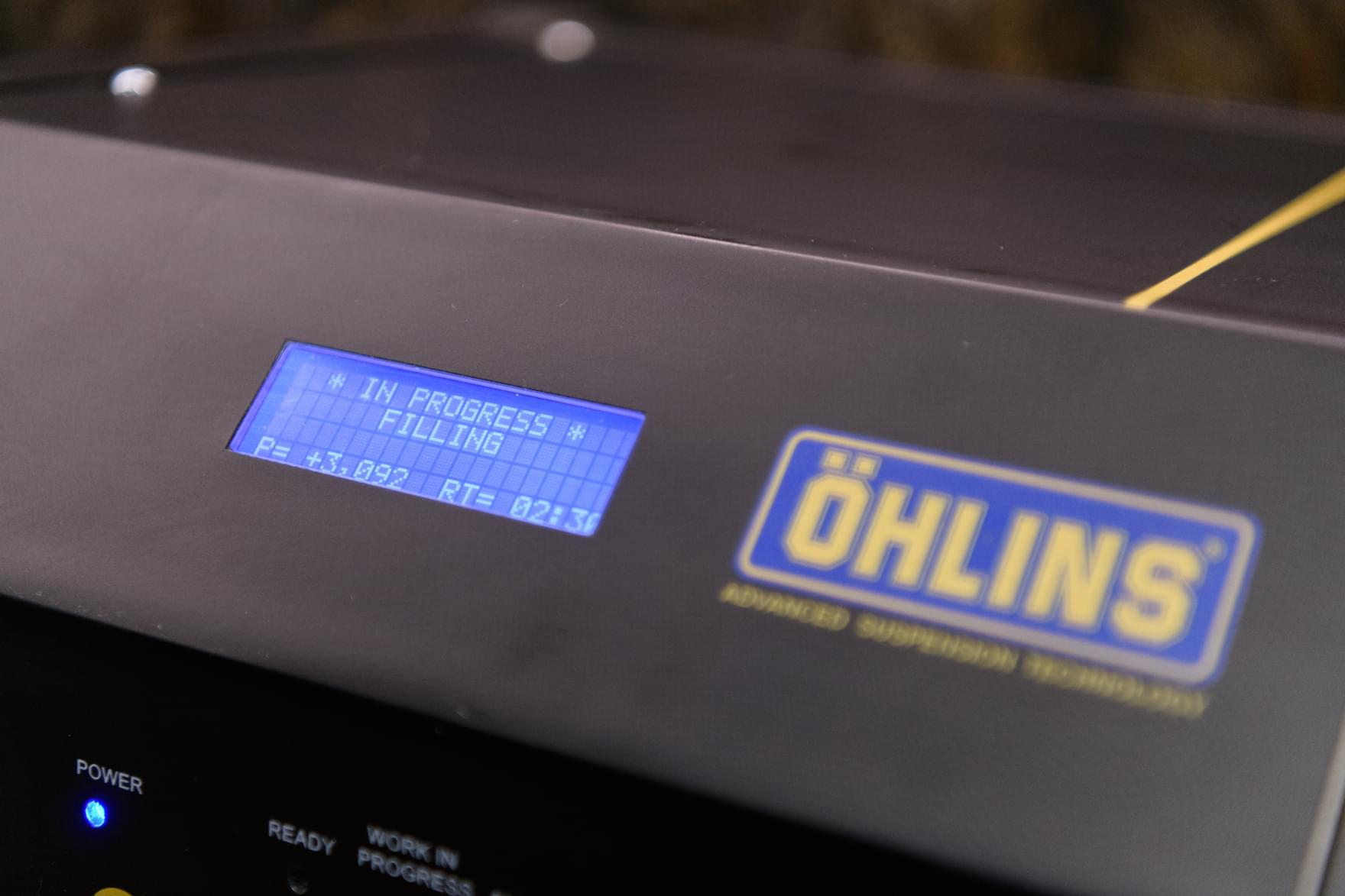 Ohlins bleed machine at Plush Suspension
