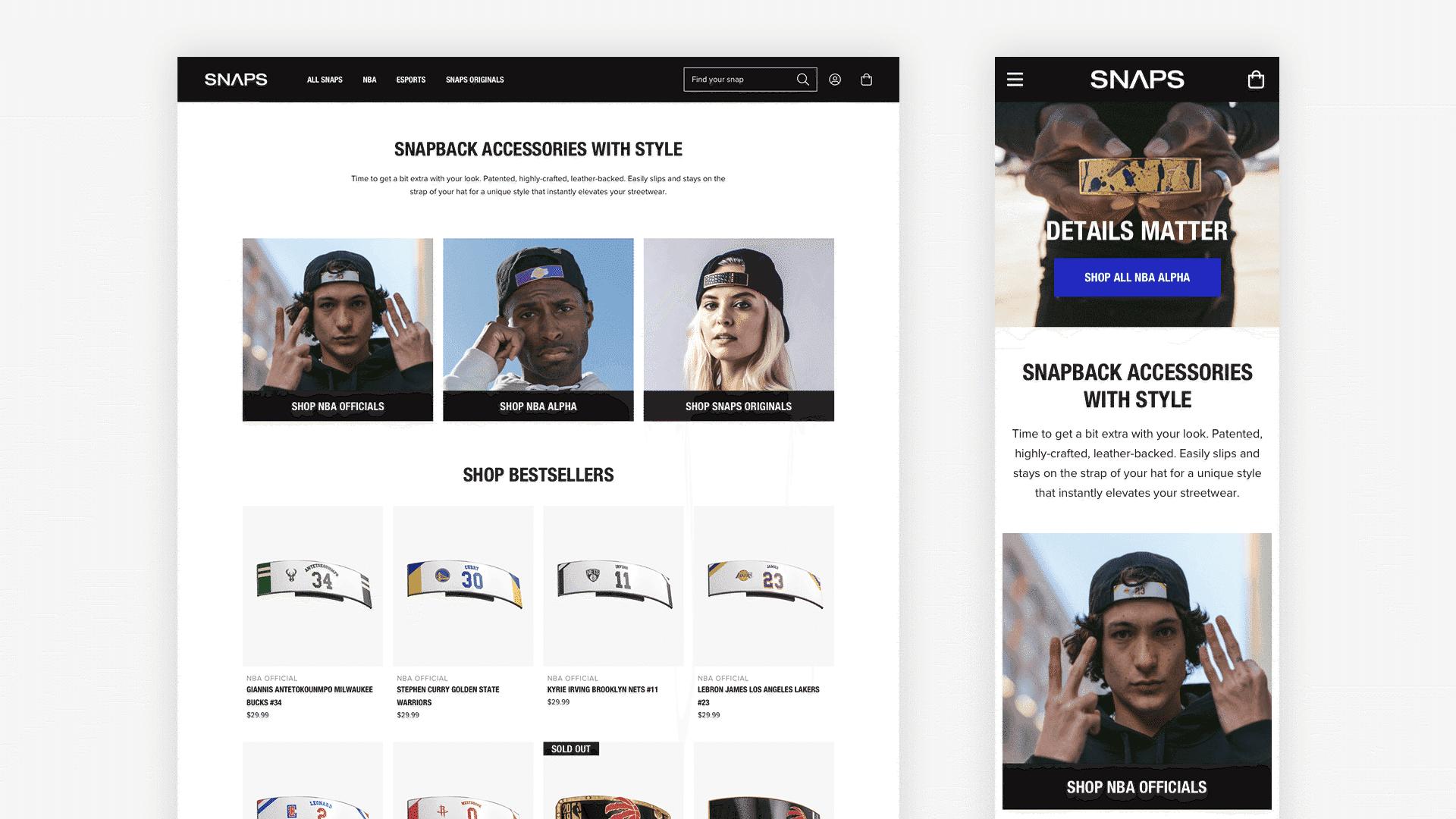 Snaps Website Mockup
