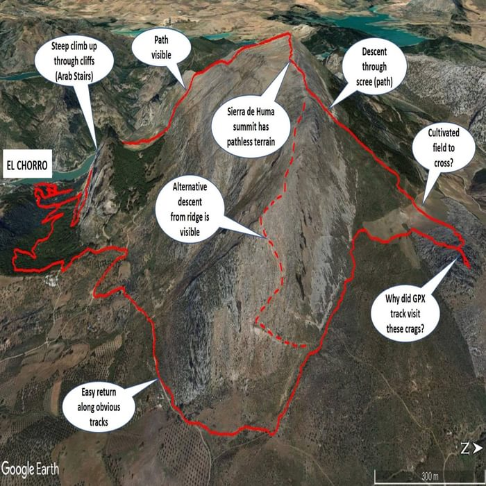 Sense check of a Wikiloc GPX track viewed in Google Earth for the traverse of the Sierra de Huma (1191 m), Andalucia, Spain