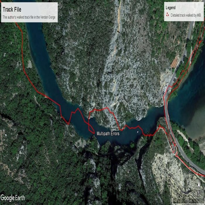 GPX track showing multipath errors due to cliffs low down in the Verdon Gorge