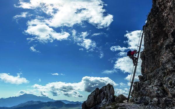052 The long iron ladder is part of a Via Ferrata route