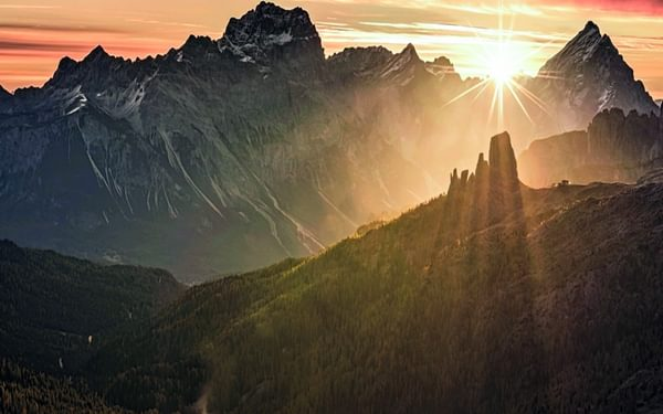 147 The Sun Rises Behind The Five Towers Of Cinque Torri During The Autumn