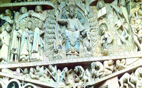Detail of tympanum Conques cathedral Photo Marigold Fox