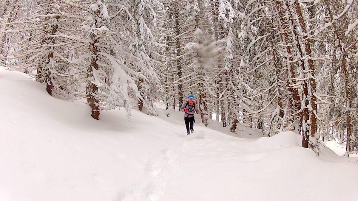 Running In Deep Powder Near Les Granges