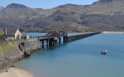 Barmouth Bridge takes the coast path across the Mawddach estuary