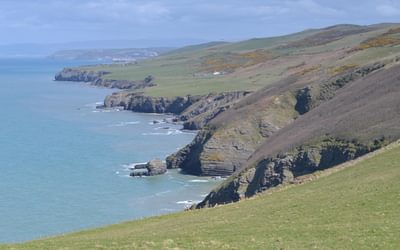 The rugged coast north of Llanrhystud