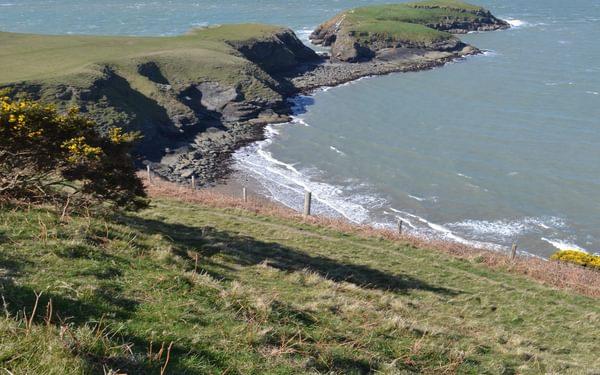 The tiny island of Ynys Lochtyn near Llangrannog
