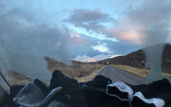 Driving from An Teallach to Inverness, we tried our best to dry out our socks and gloves