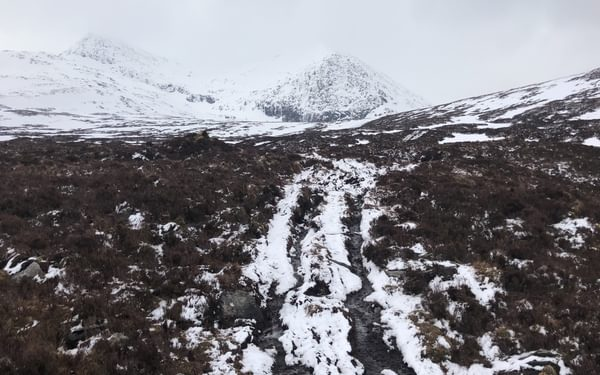 The boggy track leading into the Fannicks
