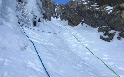 The gully leads you upwards, enclosed by steep walls