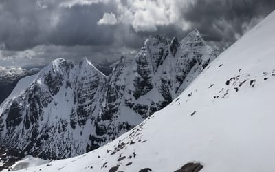 The line of the An Teallach traverse lays behind us