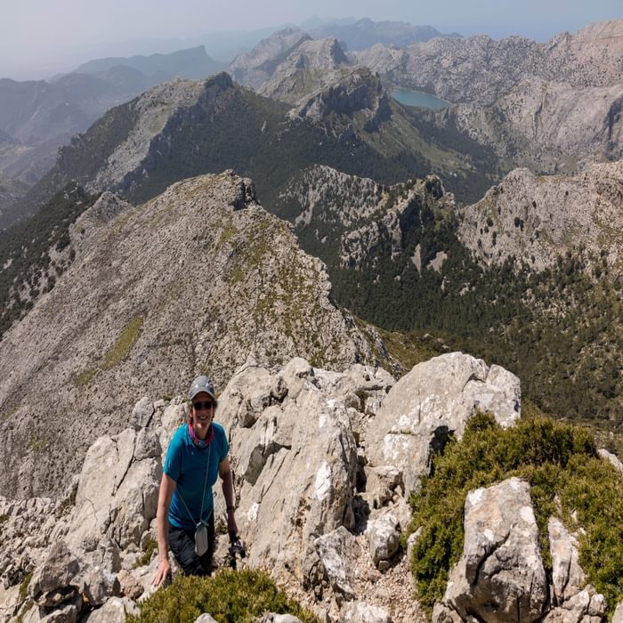 Climbing High On The Ridge Route Above Coll De S'Argento To Mallorca's Second Highest Point Puig De Massenella 1365M