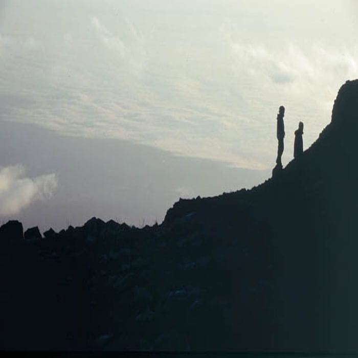 009 Silhouetted Figures On Mawenzi Ridge Watching The Sunrise Rongai Route Mawenzi Tarn Hut To Kibo