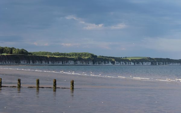 A sight for sore eyes - the cliffs of Flamborough Head from the end of the Way of the Roses