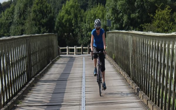 On the rattly planks of Aldwark Bridge during the fast middle section of the Way of the Roses