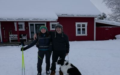 Ewen Martin, Bob the Dog and I outside Ewen's house at Hessa on day 3 of my trip.