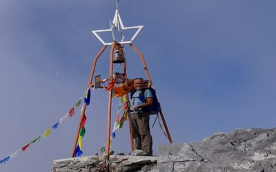 Ringing the Peace Bell on Mt Coglians