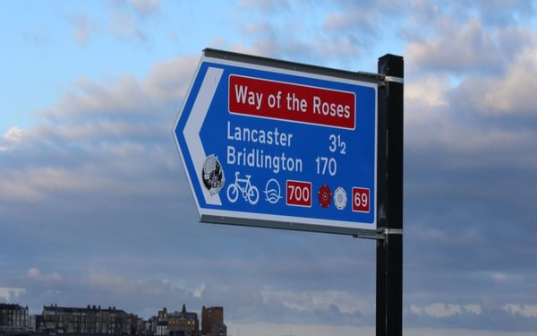 The Way of the Roses runs between Morecambe in Lancashire and Bridlington in Yorkshire