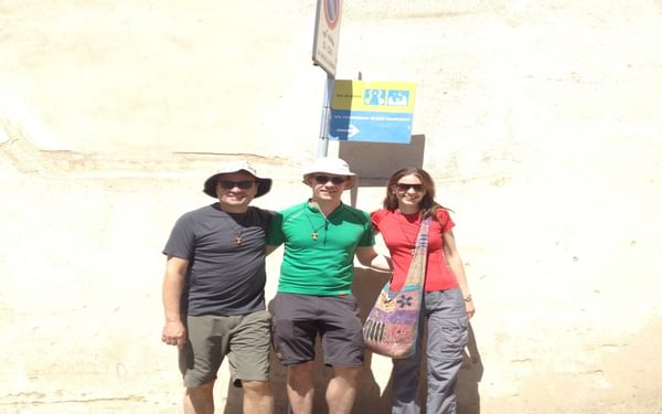We pause for a photo in Assisi before starting the very first day of the Way of St Francis/Via di Francesco with (left): the author, Sebastian of Germany, Jacqueline of Austria. (Way of St Francis/Via di Francesco)