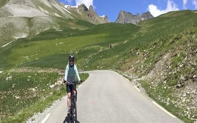Lesley On The Descent From The Bonette  The Gr5 Crosses The Lower Col Just Right Of Centre