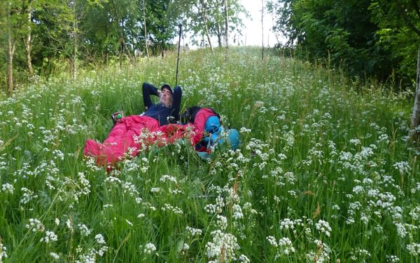 A night under the stars and amongst the flowers - and why not. The Yorkshire hills have never been so dry, who needs a tent! (Day 3 - days 10 & 11 in the guide).