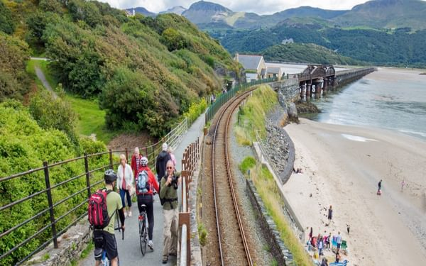 Looking south from Barmouth along the viaduct across the Mawddach Estuary