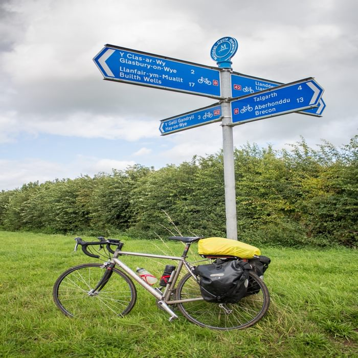 National Cycle Network fingerpost near Tregoyd where the Cardiff and alternative Chepstow start converge