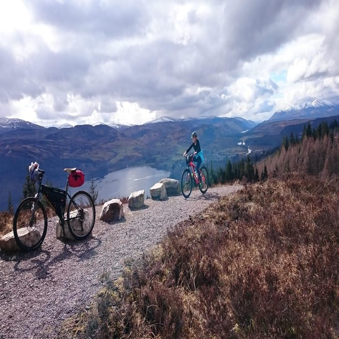 High above Loch Ness on the Great Glen Way, another intermediate bikepacking route