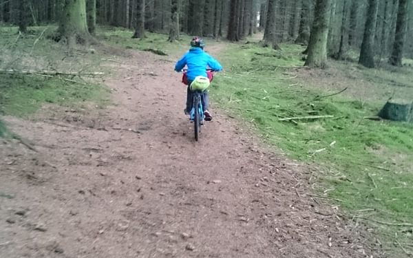 Riding on the many easy trails in the Cairngorms
