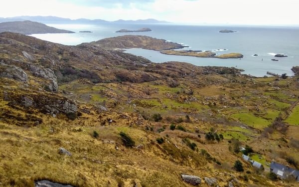 Looking down on Derrynane Bay from the high path